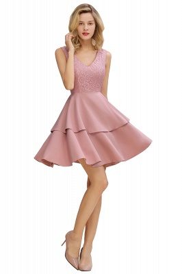 Lovely V-neck V-back Knee Length Ruffle Homecoming Dresses_8