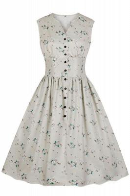 Glorious Jewel Sleeveless A-line Fashion  Dresses | Floral Knee-Length Women's Dress_24