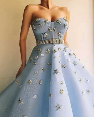 Stylish Strapless Sweetheart Beading Flowers Prom Dress | Chic Blue Tulle Long Cheap Prom Dress with Beadning Sash_3
