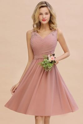 Cheap A-line Chiffon Ruffle Bridesmaid Dress Sleeveless Lace Homecoming Dress in Stock_14