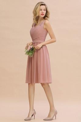 Cheap A-line Chiffon Ruffle Bridesmaid Dress Sleeveless Lace Homecoming Dress in Stock_15