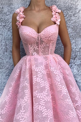 Exquisite Lace Sweetheart Pink Prom Dress | Chic Flower Straps Sleeveless Long Prom Dress_2