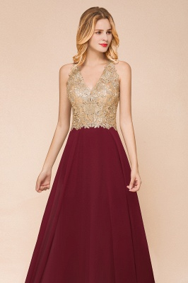 Cheap Chiffon Appliques Long Prom Dress | Affordable Floor Length A-line Evening Dresses_12