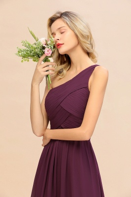 Chic Long One Shoulder Ruffle Chiffon Burgundy Bridesmaid Dresses_5