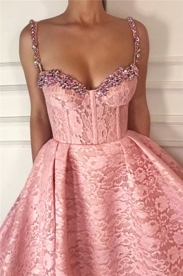Fantastic Ball Gown Straps Sweetheart Prom Dress | Gorgeous Pink Lace Beading Long Prom Dress_2