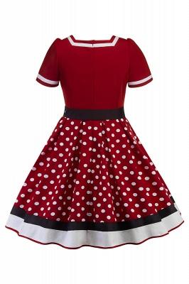 Fascinating A-line Belted Short Sleeve Jewel Polk-Dot Women's Dresses   Knee-Length Fashion Dress_12