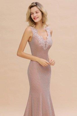 Glittery Deep V-neck Sleeveless Pink Floor-length Long Evening Dresses_16