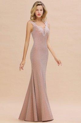 Glittery Deep V-neck Sleeveless Pink Floor-length Long Evening Dresses_13