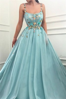 Sexy Spaghetti Straps Sleeveless Long Prom Dress | A Line Beading Flowers Cheap Prom Dress_1