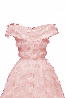 Lovely off-the-shoulder Artifical Feather Princess Vintage Homecoming Dresses_11