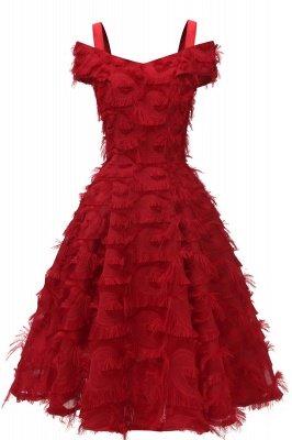 Artificial Fur Cap Sleeve Princess Short Homecoming Dress_3