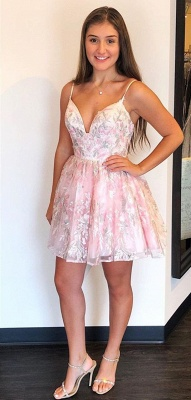 Stylish Spaghetti Straps Short Homecoming Dress | Cheap V Neck Sleeveless Lace Cocktail Dress_2