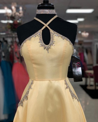 A-line Keyhole Floor Length Criss-Cross Straps Prom Dress | Yellow Prom Gown with Beading_4