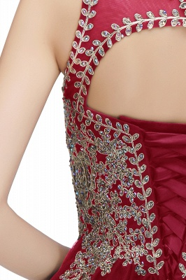 Cute Crew Neck Open Back Beaded Lace Appliques Homecoming Dresses_32
