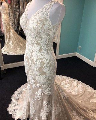Beautiful Lace Mermaid Cheap Wedding Dresses_2