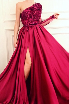 Sexy One Shoulder Front Slit Burgundy Prom Dress | Affordable One Sleeve Appliques Long Prom Dress_1