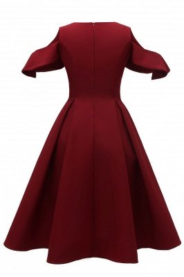 Lovely Scoop neck Half sleeves Front Cross Vintage Short Dresses_6