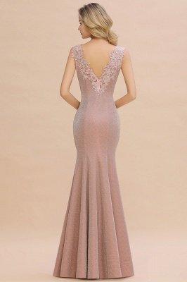 Glittery Deep V-neck Sleeveless Pink Floor-length Long Evening Dresses_17