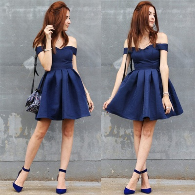 Off-the-shoulder Short Dark-Navy A-line Modest Homecoming Dress_4