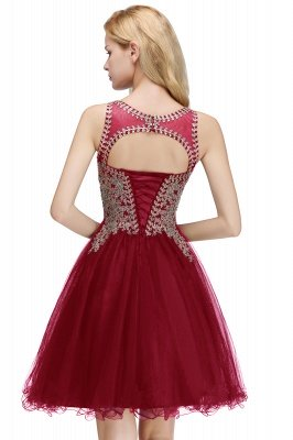 Cute Crew Neck Open Back Beaded Lace Appliques Homecoming Dresses_23