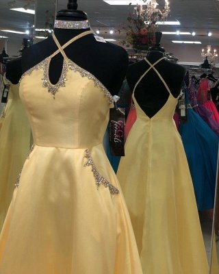 A-line Keyhole Floor Length Criss-Cross Straps Prom Dress | Yellow Prom Gown with Beading_3