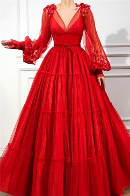 Chic V Neck Long Sleeves Red Tulle Prom Dress | Charming Ball Gown Appliques Beading Long Prom Dress_1