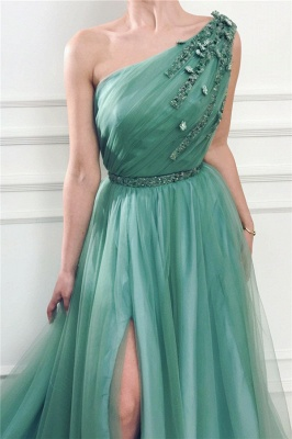 Glamorous One Shoulder Green Tulle Prom Dress with Beading | Sexy Front Slit Long Prom Dress with Beading Sash_2