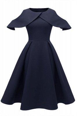 Lovely Scoop neck Half sleeves Front Cross Vintage Short Dresses_2