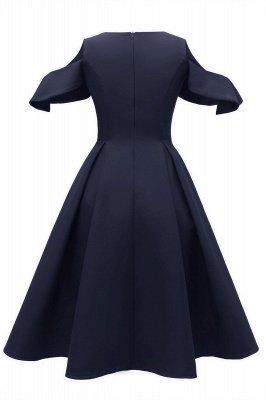 Lovely Scoop neck Half sleeves Front Cross Vintage Short Dresses_10