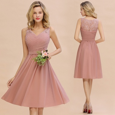 A-line V-neck Knee Length Homecoming Dress | Dusty Rose Chiffon Party Dress with Pleats_14