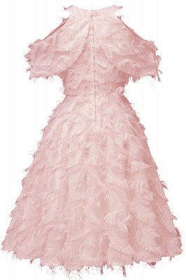 Gorgeous A-line High neck Artifical Feather Vintage Short Dresses_8