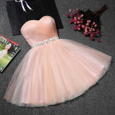 Crystal Ruffles Short A-Line Simple Sweetheart Short Homecoming Dresses_5