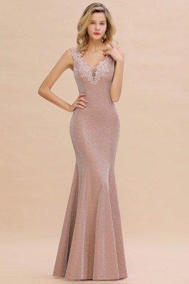 Glittery Deep V-neck Sleeveless Pink Floor-length Long Evening Dresses_11