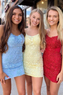 Sexy Spaghetti Straps Criss-Cross Straps Homecoming Dress | Bodycon Appliques Short Cocktail Dress