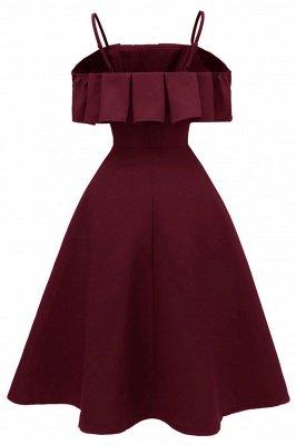 Lovely Spaghetti Straps Cascading Ruffles Vintage Short Dresses_6