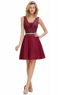 Cute Deep V-neck Knee Length Belt Beaded Short Homecoming Dresses_2