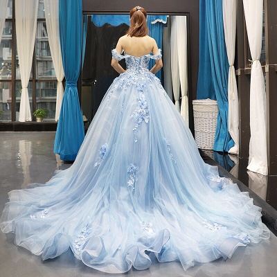 Stylish Ball Gown Off the Shoulder Long Prom Dress | Luxury Sweetheart Lace Appliques Prom Gown_3