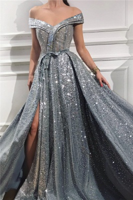 Sparkly Sequins Off the Shoulder Sleeveless Prom Dress | Gorgeous Sweetheart Front Slit Shinny Long Prom Dress_1