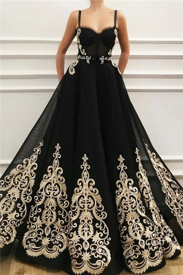 Cheap Straps Sweetheart Black Tulle Prom Dress | Charming Sleeveless Champagne Appliques Long Prom Dress_1