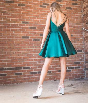 A-line Spaghetti Straps Green Homecoming Dress | Zipper Up Sexy Short Cocktail Dress_2