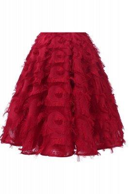 Gorgeous A-line Burgundy Halter Feather Princess Vintage Short Dresses_15