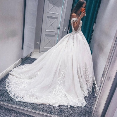 Stunning Off the Shoulder  White Wedding Dress | Fantastic V Neck Lace Long Bridal Dress_3