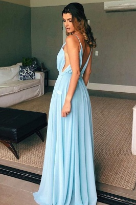 A-line Spaghetti Straps Deep V-neck  Prom Dress | Sexy Long Chiffon Evening Dress