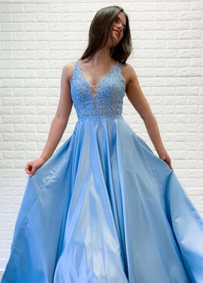 A-line V-neck Floor Length Prom Dress | Sky Blue Prom Gown with Lace Appliques