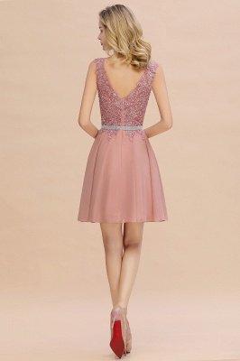 Cute Deep V-neck Knee Length Belt Beaded Short Homecoming Dresses_15