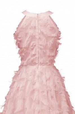 Gorgeous A-line Burgundy Halter Feather Princess Vintage Short Dresses_10