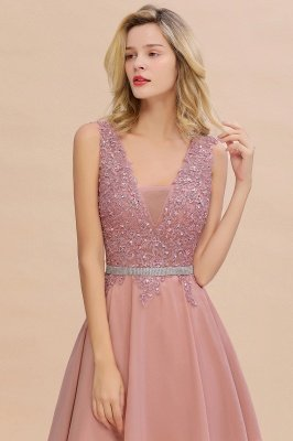 Cute Deep V-neck Knee Length Belt Beaded Short Homecoming Dresses_14