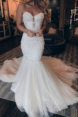 Mermaid Sweetheart Sweep Train Wedding Dress | Chic Trumpet Lace Bridal Gown