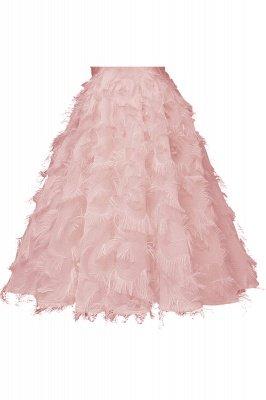High neck Gorgeous Crew Neck Artificial Feather Dress Burgundy Short Dresses_10