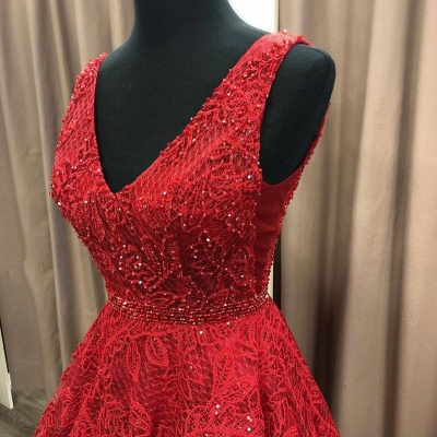 Charming V Neck Sleeveless Prom Dress | Affordable Red Lace Beading Long Prom Gown_2